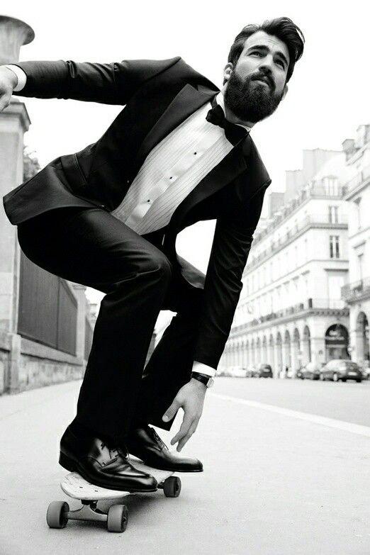 black tie tuxedo skate board