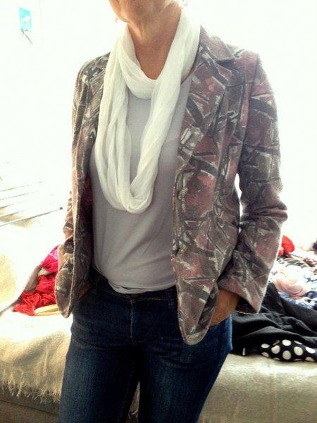 blazer shawl top spijkerbroek
